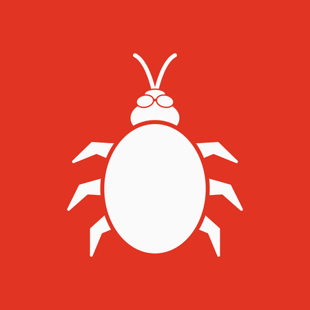 The beetle and bug icon. Acarid, insect, virus symbol. Flat Vector illustration Illustration