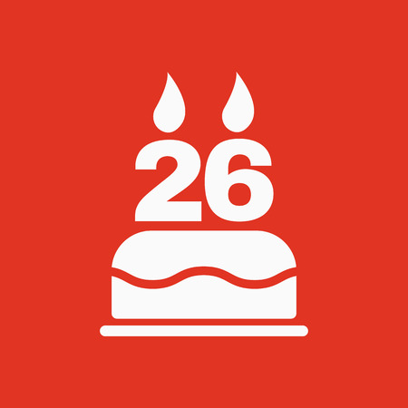 The birthday cake with candles in the form of number 26 icon. Birthday symbol. Flat Vector illustration Illustration