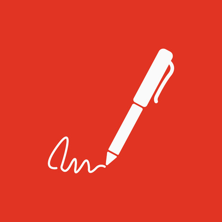 ratify: The signature icon. Pen and undersign, underwrite, ratify symbol. Flat Vector illustration Illustration