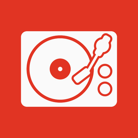 The turntable icon. DJ and melody, music, player symbol. Flat Vector illustration