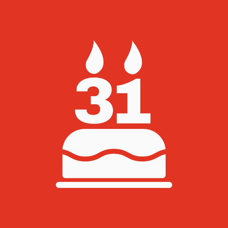 The birthday cake with candles in the form of number 31 icon. Birthday symbol. Flat Vector illustration
