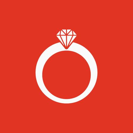 The ring icon. Diamond and jewelry, wedding symbol. Flat Vector illustration