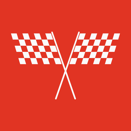 two crossed checkered flags: The checkered flag icon. Finish and start, winner symbol. Flat Vector illustration Illustration