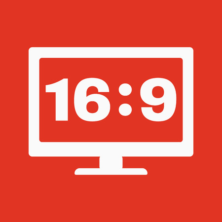 16 9: The aspect ratio 16 9 widescreen  icon. Tv and video symbol. Flat