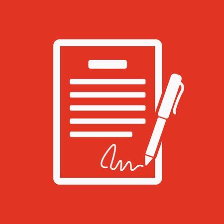 pacto: El icono del contrato. Acuerdo y firma, pacto, acuerdo, símbolo de convenciones. Ilustración vectorial Flat Vectores