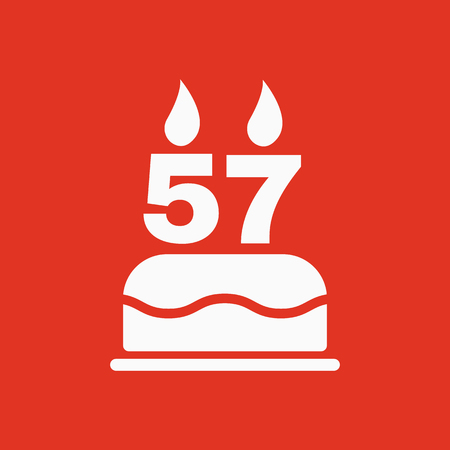 57: The birthday cake with candles in the form of number 57 icon. Birthday symbol. Flat Vector illustration Illustration