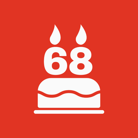 The birthday cake with candles in the form of number 68 icon. Birthday symbol. Flat Vector illustration Illustration
