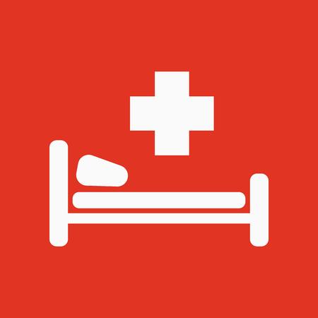 Das Krankenhaus-Symbol. Krankenwagen und Präsentation, Medizin, Behandlung Symbol. Wohnung Vektor-Illustration