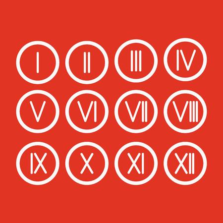 numeros romanos: El set números romanos 1-12 icono. vector Vectores