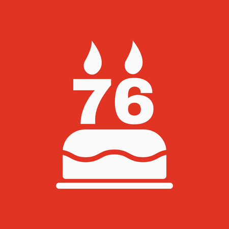 The birthday cake with candles in the form of number 76 icon. Birthday symbol. Flat Vector illustration