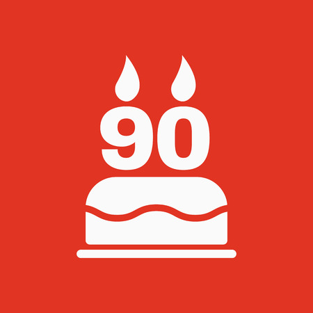 The birthday cake with candles in the form of number 90 icon. Birthday symbol. Flat Vector illustration Illustration