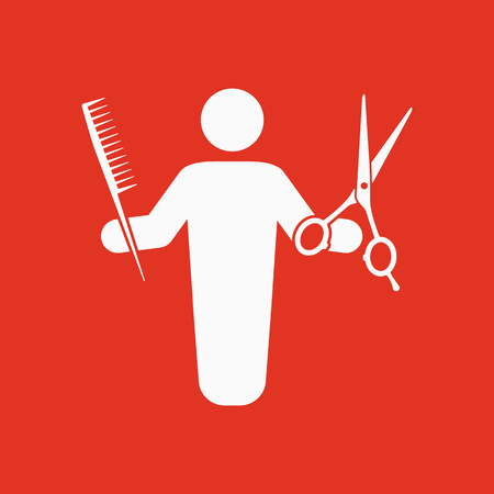 barbershop: The barber avatar icon. Barbershop and hairdresser, haircutter symbol. Flat Vector illustration