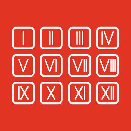 numeros romanos: The set Roman numerals 1-12 icon. vector
