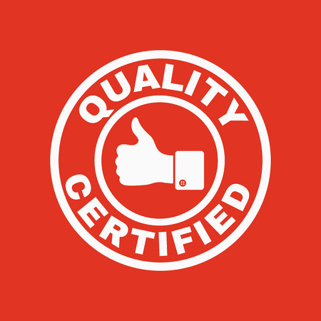 categorized: The certified quality and thumbs up icon.  Approval, approbation, certification, accepted symbol. Flat Vector illustration
