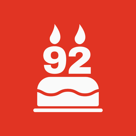 The Birthday Cake With Candles In The Form Of Number 92 Icon