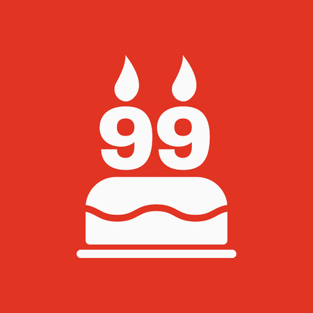 99: The birthday cake with candles in the form of number 99 icon. Birthday symbol. Flat Vector illustration Illustration