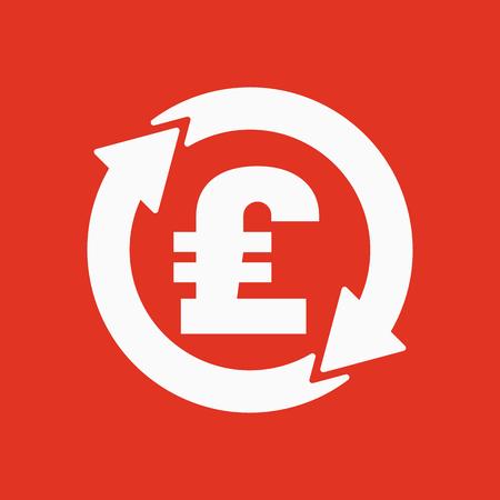 libra esterlina: El icono de la libra esterlina de cambio de divisa. Dinero en efectivo y el dinero, la riqueza, símbolo de pago. Ilustración vectorial Flat
