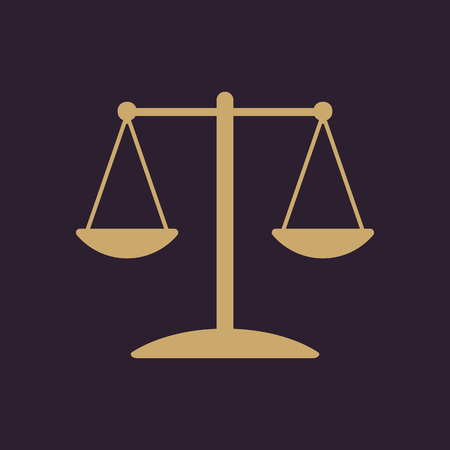 acquit: The scales icon.  Weigher symbol. Flat Vector illustration