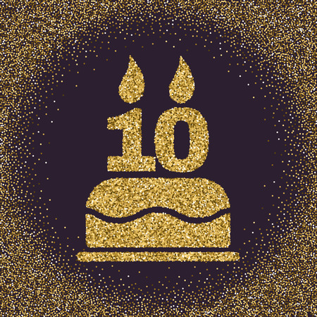 number 10: The birthday cake with candles in the form of number 10. Birthday symbol. Gold sparkles and glitter Vector illustration Illustration