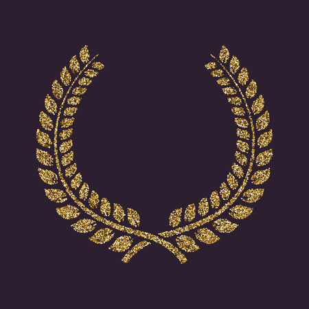 The laurel wreath icon. Prize and reward, honors symbol. Flat Vector illustration. Gold sparkles and glitter Illustration