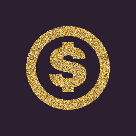 currency glitter: The dollar icon. Cash and money, wealth, payment symbol. Gold sparkles and glitter Vector illustration