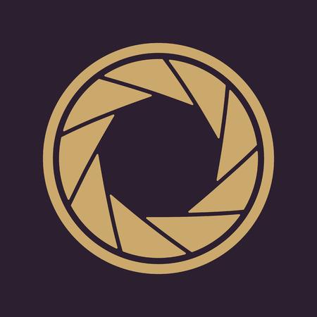 film shooting: The diaphragm icon. Aperture symbol. Flat Vector illustration Illustration