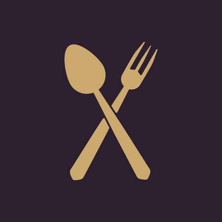 flatwares: The spoon and fork icon. Spoon and fork symbol. Flat Vector illustration