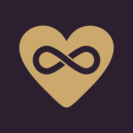 infinity icon: The heart and infinity icon. Heart and Infinity symbol. Flat Vector illustration Illustration