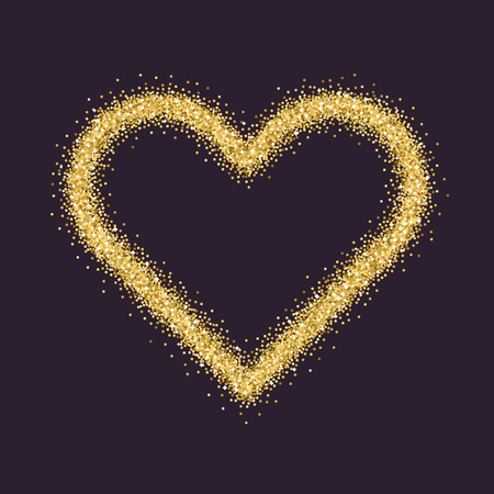 Valentines Day symbol. Heart. Gold sparkles and glitter Vector illustration