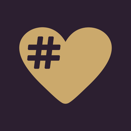 social networking: The hash love icon. Hashtag heart symbol. Flat Vector illustration