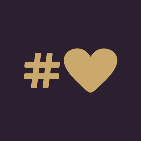 hash: The hash love icon. Hashtag heart symbol. Flat Vector illustration
