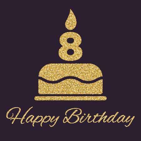 The birthday cake with candles in the form of number 8. Birthday symbol. Gold sparkles and glitter Vector illustration