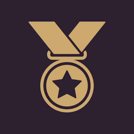The medal icon. Prize symbol. Flat Vector illustration