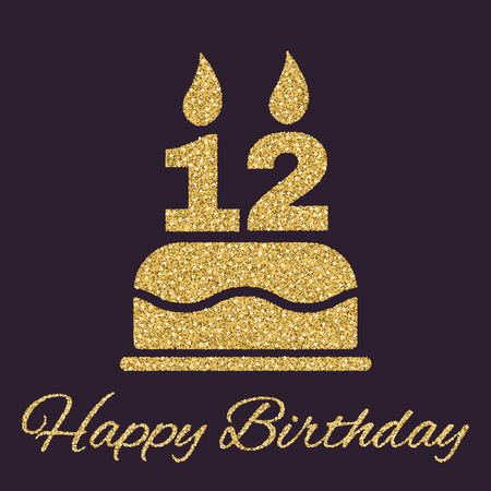number 12: The birthday cake with candles in the form of number 12 icon. Birthday symbol. Gold sparkles and glitter Vector illustration Illustration