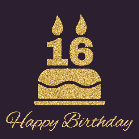 The birthday cake with candles in the form of number 16 icon. Birthday symbol. Gold sparkles and glitter Vector illustration