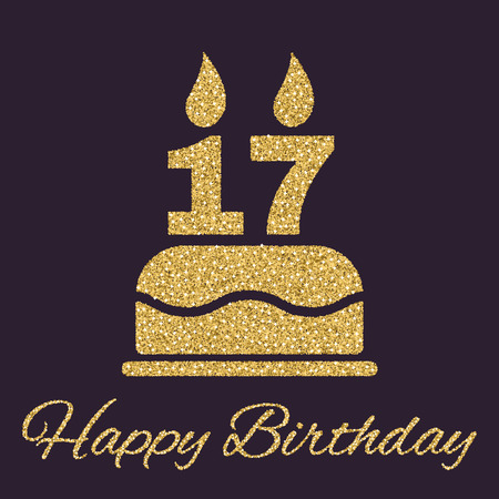 The birthday cake with candles in the form of number 17 icon. Birthday symbol. Gold sparkles and glitter Vector illustration