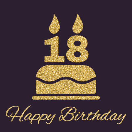 happy birthday 18: The birthday cake with candles in the form of number 18 icon. Birthday symbol. Gold sparkles and glitter Vector illustration