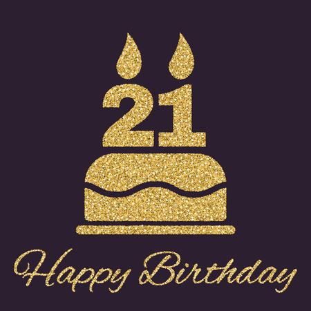 숫자 21 아이콘의 형태로 촛불 생일 케이크. 생일 기호. 골드 반짝임과 반짝이 벡터 일러스트 레이 션 스톡 콘텐츠 - 64362981
