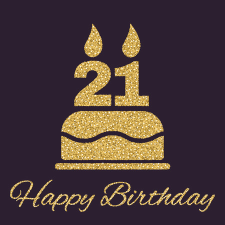 The birthday cake with candles in the form of number 21 icon. Birthday symbol. Gold sparkles and glitter Vector illustration Illustration