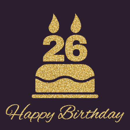 twenty six: The birthday cake with candles in the form of number 26 icon. Birthday symbol. Gold sparkles and glitter Vector illustration