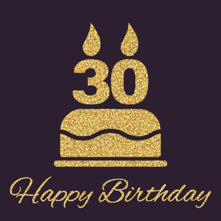 The birthday cake with candles in the form of number 30 icon. Birthday symbol. Gold sparkles and glitter Vector illustration