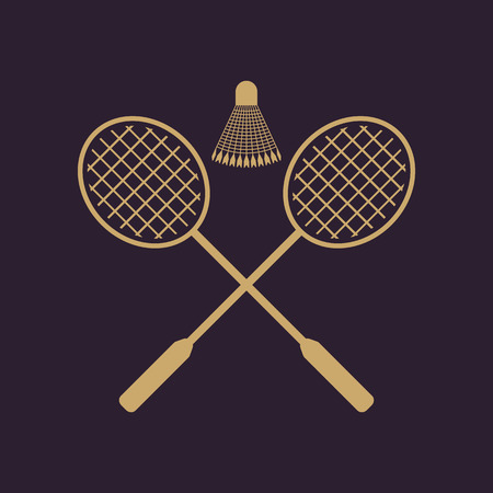 indoor court: The badminton icon. Sport symbol. Flat Vector illustration Illustration