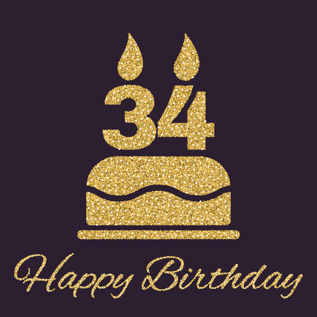 34: The birthday cake with candles in the form of number 34 icon. Birthday symbol. Gold sparkles and glitter Vector illustration