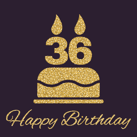 number 36: The birthday cake with candles in the form of number 36 icon. Birthday symbol. Gold sparkles and glitter Vector illustration