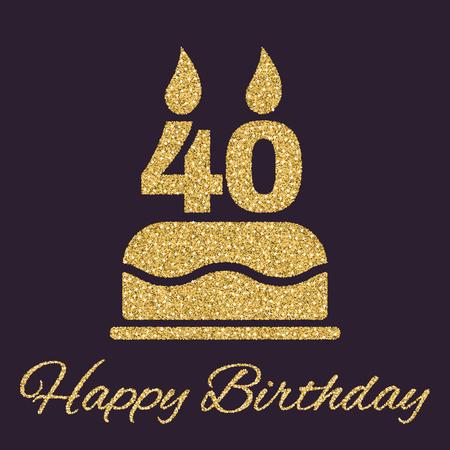 De verjaardagstaart met kaarsen in de vorm van nummer 40 icoon. Verjaardags symbool. Gouden fonkelingen en glitter Vector illustratie