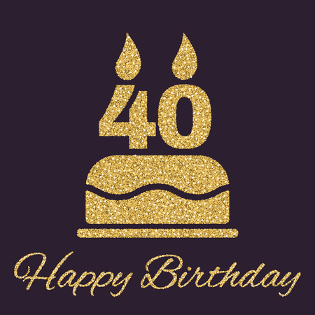 The birthday cake with candles in the form of number 40 icon. Birthday symbol. Gold sparkles and glitter Vector illustration