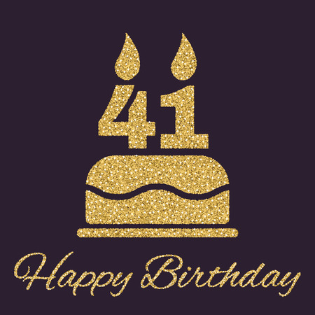 The birthday cake with candles in the form of number 41 icon. Birthday symbol. Gold sparkles and glitter Vector illustration