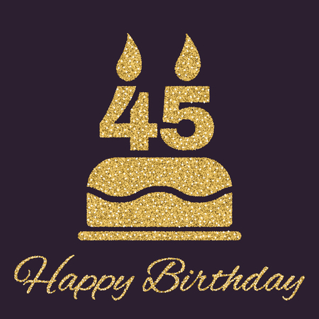 The birthday cake with candles in the form of number 45 icon. Birthday symbol. Gold sparkles and glitter Vector illustration