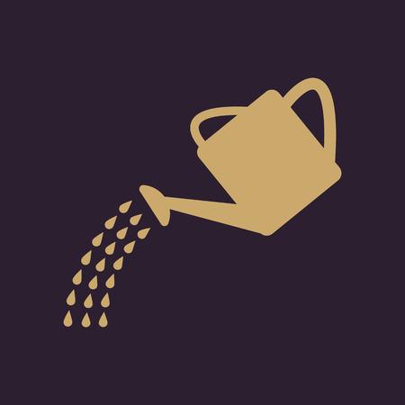 The watering can icon. Irrigation symbol. Flat Vector illustration Ilustração