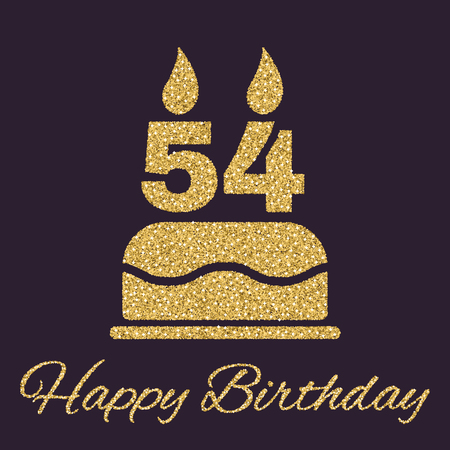 54: The birthday cake with candles in the form of number 54 icon. Birthday symbol. Gold sparkles and glitter Vector illustration Illustration